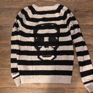 Aqua striped cashmere sweater with skull